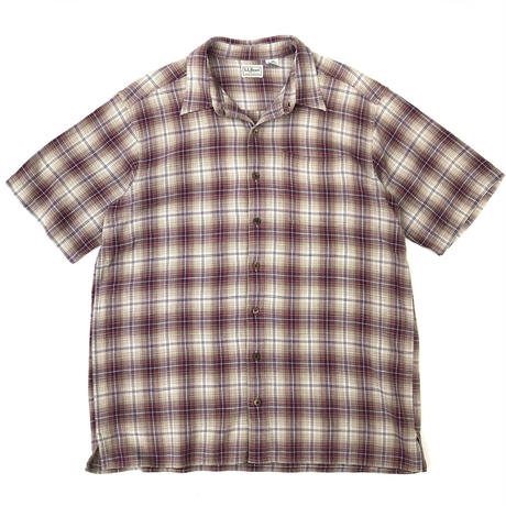 00s L.L.Bean / Ombre Check Shirt / Beige × Burgundy / Used