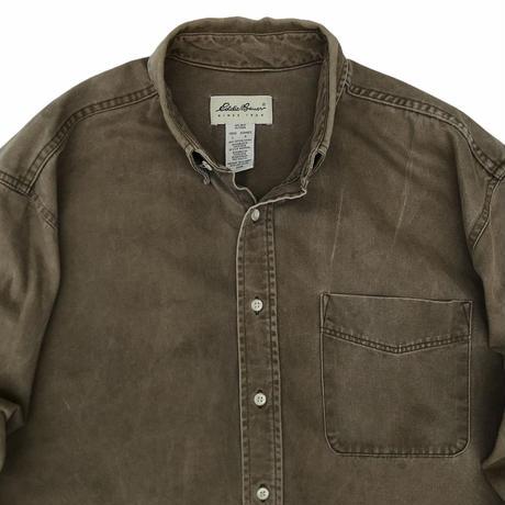90's Eddie Bauer / Cotton Solid B.D.Shirt / Beige / Used