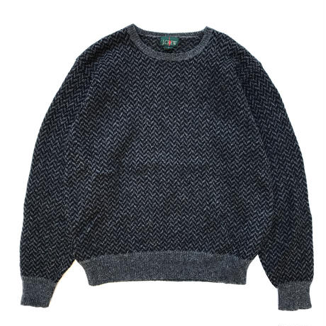 90s J.CREW / Crew Neck Wool Knit / Black / Used