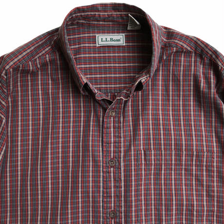 90s L.L.Bean / Cotton Checked B.D.Shirt / Burgundy Check / Used