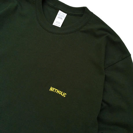 "Color at Against ORIGINALS / ""NETHOLIC"" Long Sleeve  TEE / Forest × Yellow"