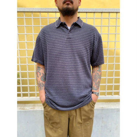 CHAPS / Border Polo Shirt / Navy × Grey / Used