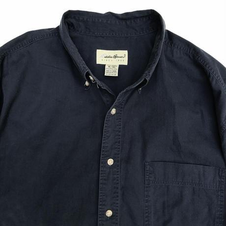 90's Eddie Bauer / Cotton Solid B.D.Shirt / Navy / Used