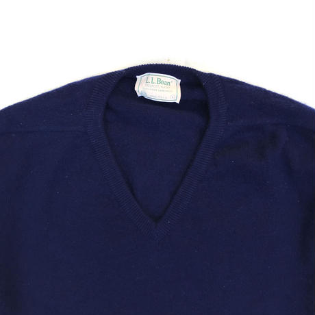 Made in USA / 80s L.L.Bean / Lamb Wool Knit V Neck Sweater / Navy / Used
