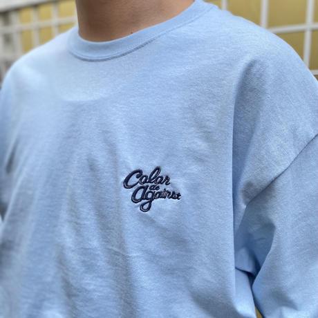 "Color at Against ORIGINALS / C&C ""Navy"" Embroidered L/S Tee / Lt.Blue"