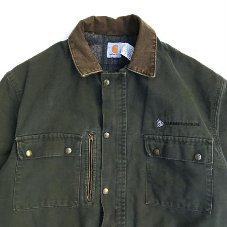 Made in USA / 90s Carhartt / Blanket Lined Duck Coat / Olive/ Used