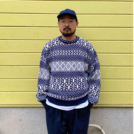 Made in USA / 80s Eddie Bauer / Pullover Cotton Knit Sweater / Navy / Used