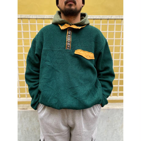 Made in USA / 90s EMS / Snap T Fleece Pullover / Green / Used
