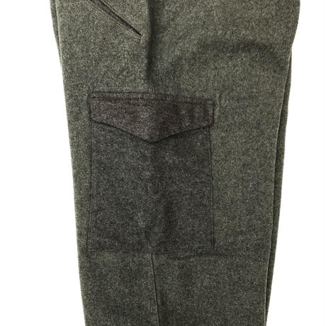 40s Swedish Military / Heavy Wool Cargo Pants / Khaki / Used