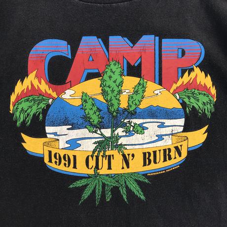 """Made in USA / Cut n' burn """"CAMP"""" Tee / Black / Used"""