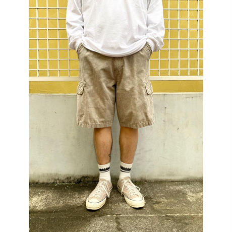 DOCKERS / Cotton Check Cargo Shorts  / Blue×Beige 36 / Used
