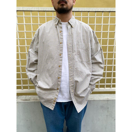 90's Eddie Bauer / Cotton Check B.D. Shirt / Yellow Check / Used