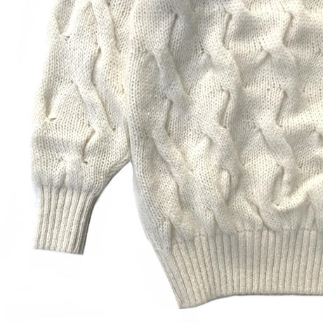 Country / Mohair Cable Knit Sweater / White / Used