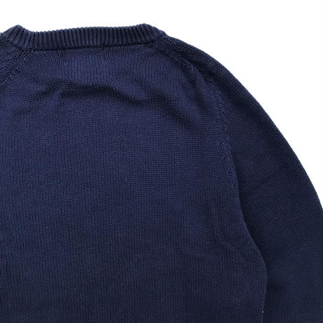 80s Eddie Bauer / Pullover Cotton Knit Sweater / Navy / Used