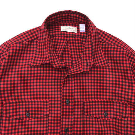 Made in USA / 80s L.L.Bean / Flannel Check Shirt /Black × Red Check / Used