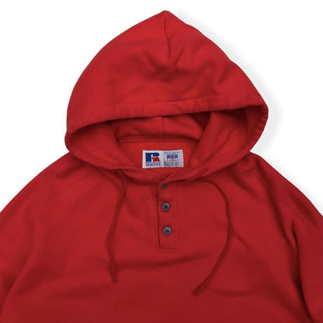 Made in USA / 90's Russell Athletic / 3 Button Hoodie / Red XL / Used