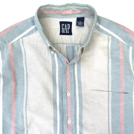OLD GAP / Cotton B.D. Stripe Shirt / White × Lt Blue × Pink / Used