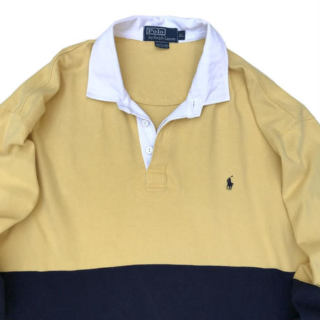 Polo Ralph Lauren / Border L/S Rugger Shirt / Navy × Yellow / Used