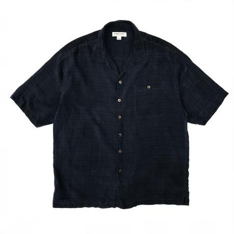 S/S Open Collar Silk Shirt / Navy  × Black / Used