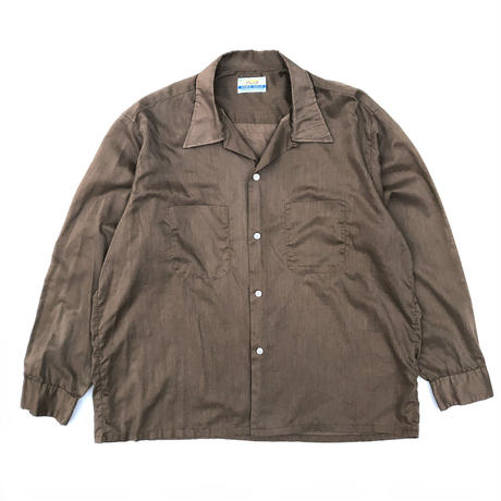 Vintage  L/S Open Collar Shirt / Brown / Used