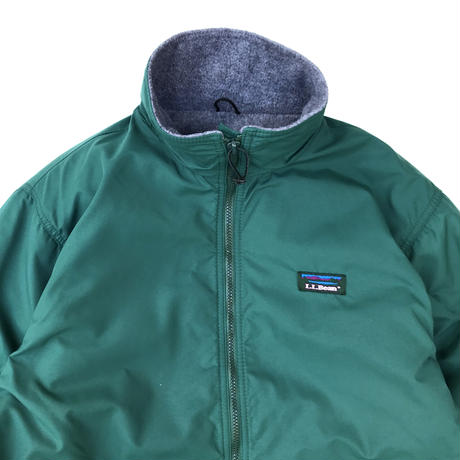 Made in USA / 90s L.L.Bean / Fleece Lined Nylon Jacket / Green / Used