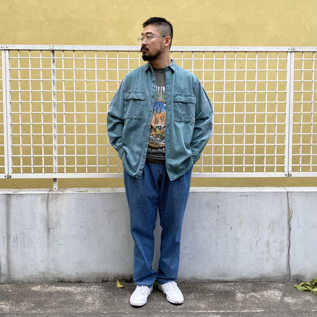 80's Eddie Bauer / 2Pocket Cotton Solid Shirt / Green / Used