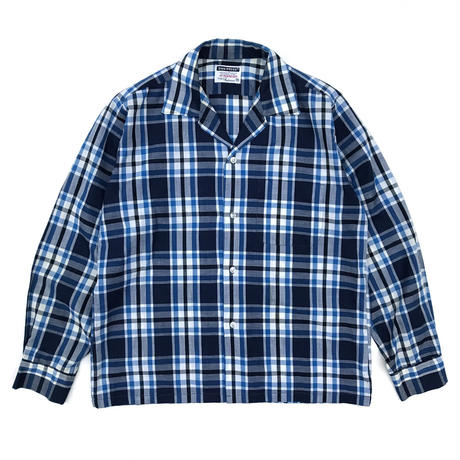 Vintage  L/S Open Collar Shirt / Blue Check / Used