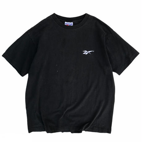 90's Reebok / One Point Embroidered Tee / Black / Used