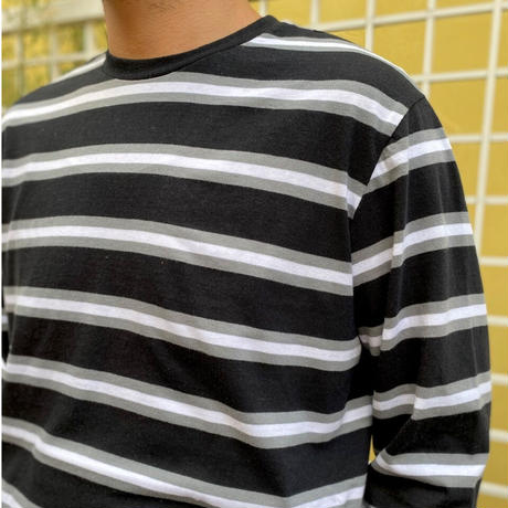 Multi Border Long Sleeve Tee / Black × Grey