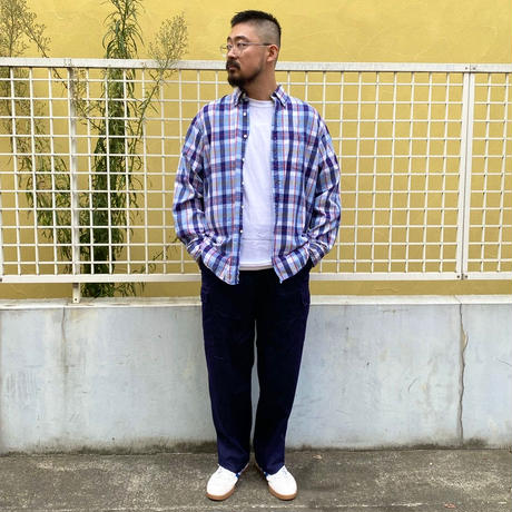 LANDS'S END / B.D. Check Shirt / Navy×White×Red / Used
