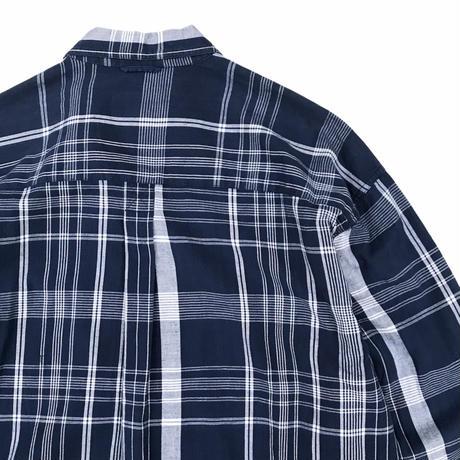 90's Eddie Bauer / Cotton Check B.D. Shirt / Navy Check / Used