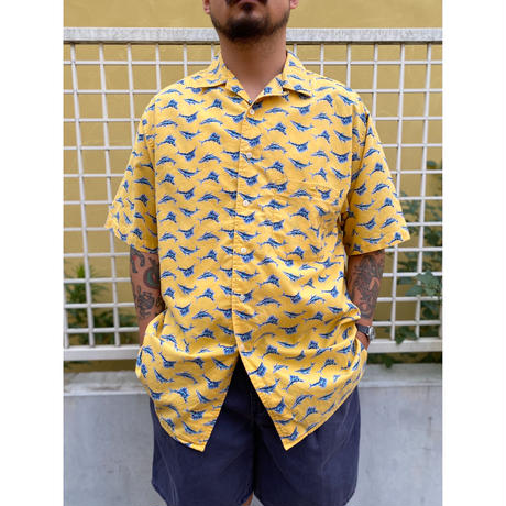 90's Eddie Bauer / Fish Patterned Open Collar Shirt / Used