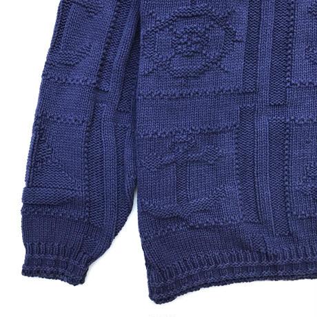 Made in USA / 80's Eddie Bauer / Pullover Cotton Knit / Navy WM / Used