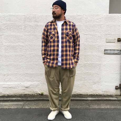 Made in USA / 80's L.L.Bean / L/S Check Shirt /  Navy × Yellow  / Used