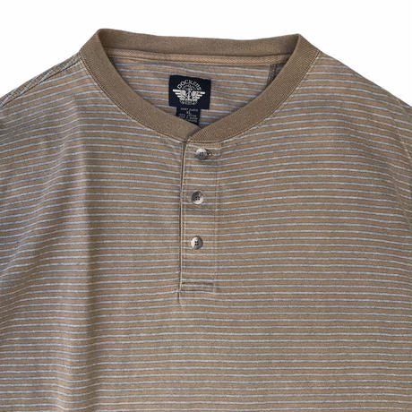 DOCKERS / Cotton Henley Neck Border Tee / Brown / Used