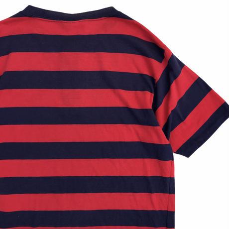 Puritan / Cotton Border Henley Neck Tee / Navy × Red / Used