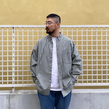 90's Eddie Bauer / Cotton Check B.D. Shirt / Green Check / Used