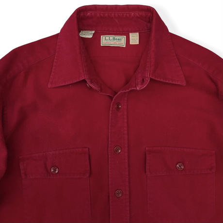 Made in USA / 80's L.L.Bean / Chamois Cloth Shirt / Red 17(XL) / Used