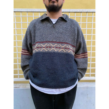 Made in USA / 90s Woolrich / Half Zip Knit Sweater / Grey / Used
