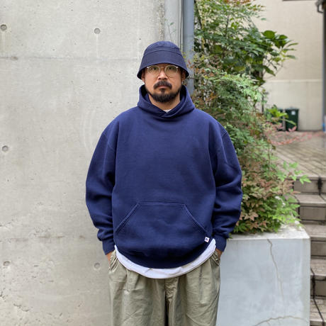 90's Russell Athletic / Solid Hoodie / Navy XL / Used