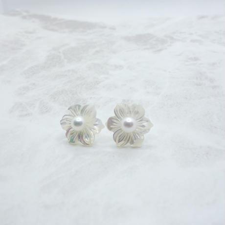 Akoya Pearl & Mother of Pearl pierced earrings  ②