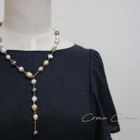 南洋バロック真珠 シャンク ネックレス マルチカラー