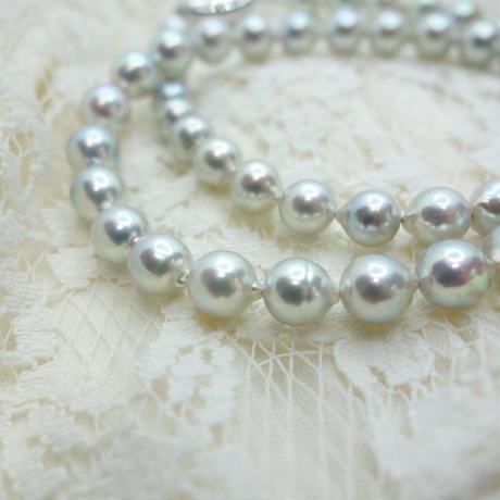 あこや真珠フォーマルセット グレー(ネックレス ・イヤリングorピアスセット)(パールネックレス)