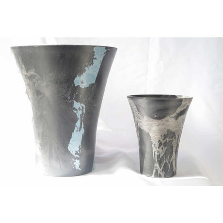 MarblePot25cm(Orchid)/Black with Stoneblue