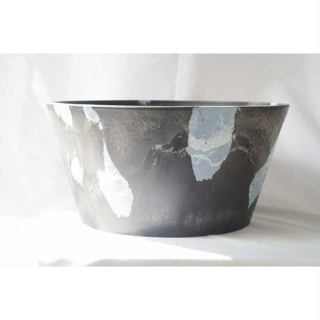 MarblePot30cm(Shallow)/Black with  Stoneblue