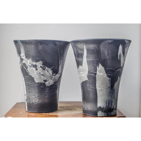 MarblePot20cm(Orchid)/Black with Light Charcoal  5個セット