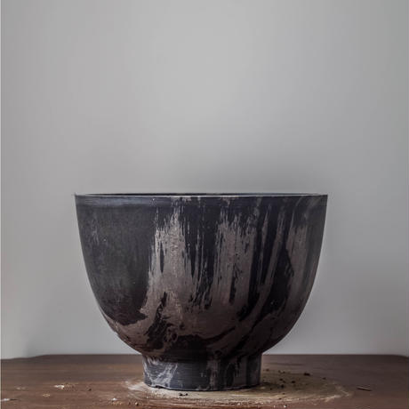 MarblePot20cm(Bowl)/Black with Light Charcoal