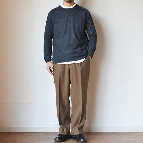 【洗えるウールのロン!】Re made in tokyo japan メリノウール ラグラン クルーネックT ネイビー/チャコール