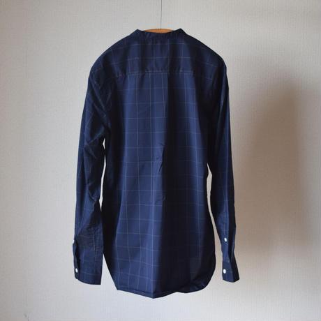 【RECOMMEND】MANUAL ALPHABET WINDOW PEN CHECK BAND COLLAR SHIRT マニュアルアルファベット ウィンドウペンチェックバンドカラーシャツ ネイビー
