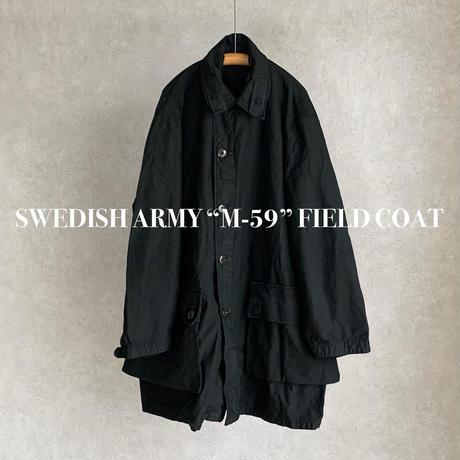 """【ご予約受付終了】MILITARY USED SWEDISH ARMY """"M-59""""FIELD COATスウェーデン軍 """"M59"""" フィールド オーバーコート 後染めブラック"""
